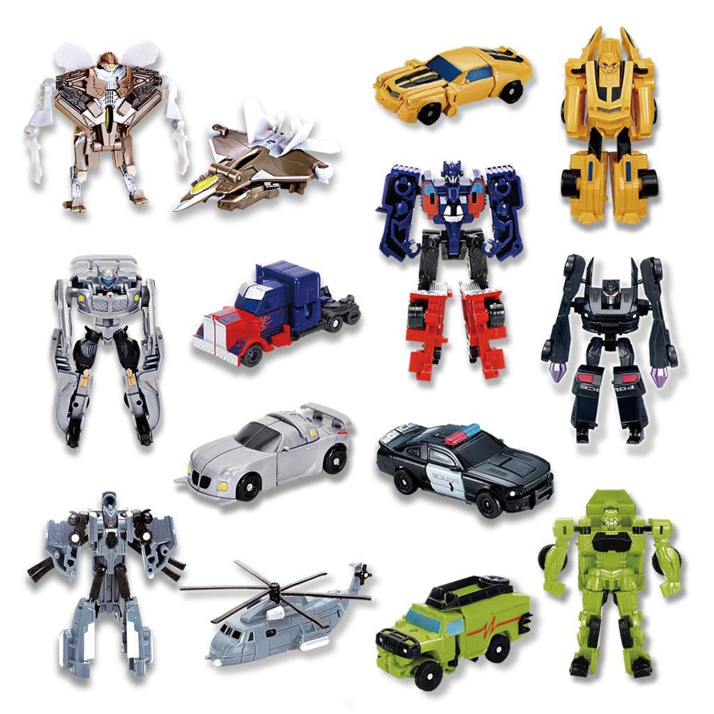 Siyushop 7 Pcs Transform Toys,Deformation Car Robots,Mini Action Figures,Toys for Boys age 3 and up. by siyushop