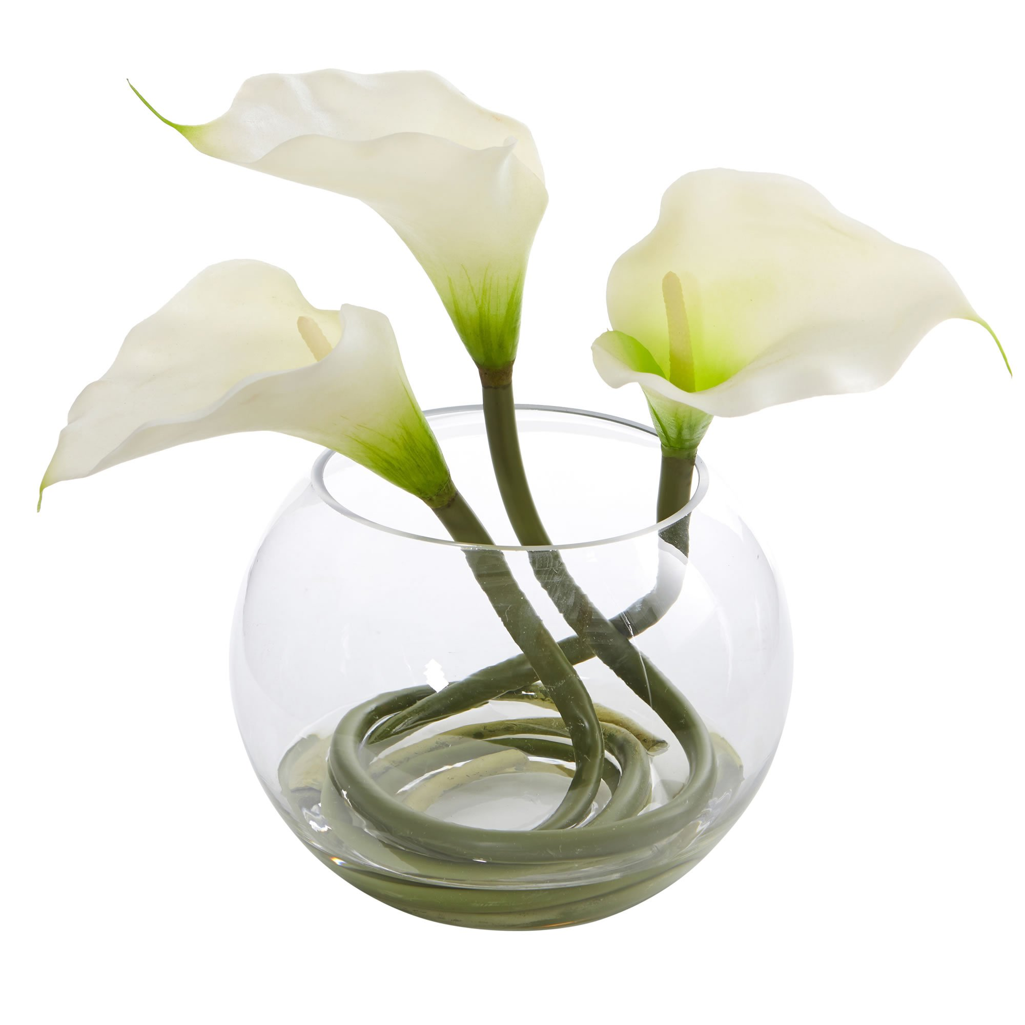 Nearly Natural Calla Lily in Rounded Glass Vase, 9'', White by Nearly Natural