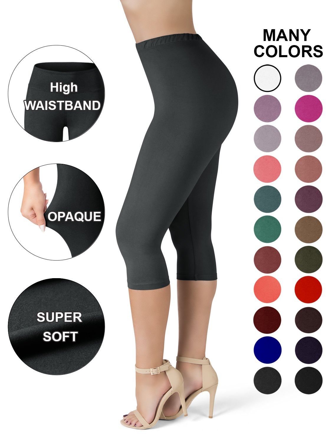 Sejora SATINA High Waisted Ultra Soft Capris Leggings - 20 Colors - Reg & Plus Size (One Size, Black)
