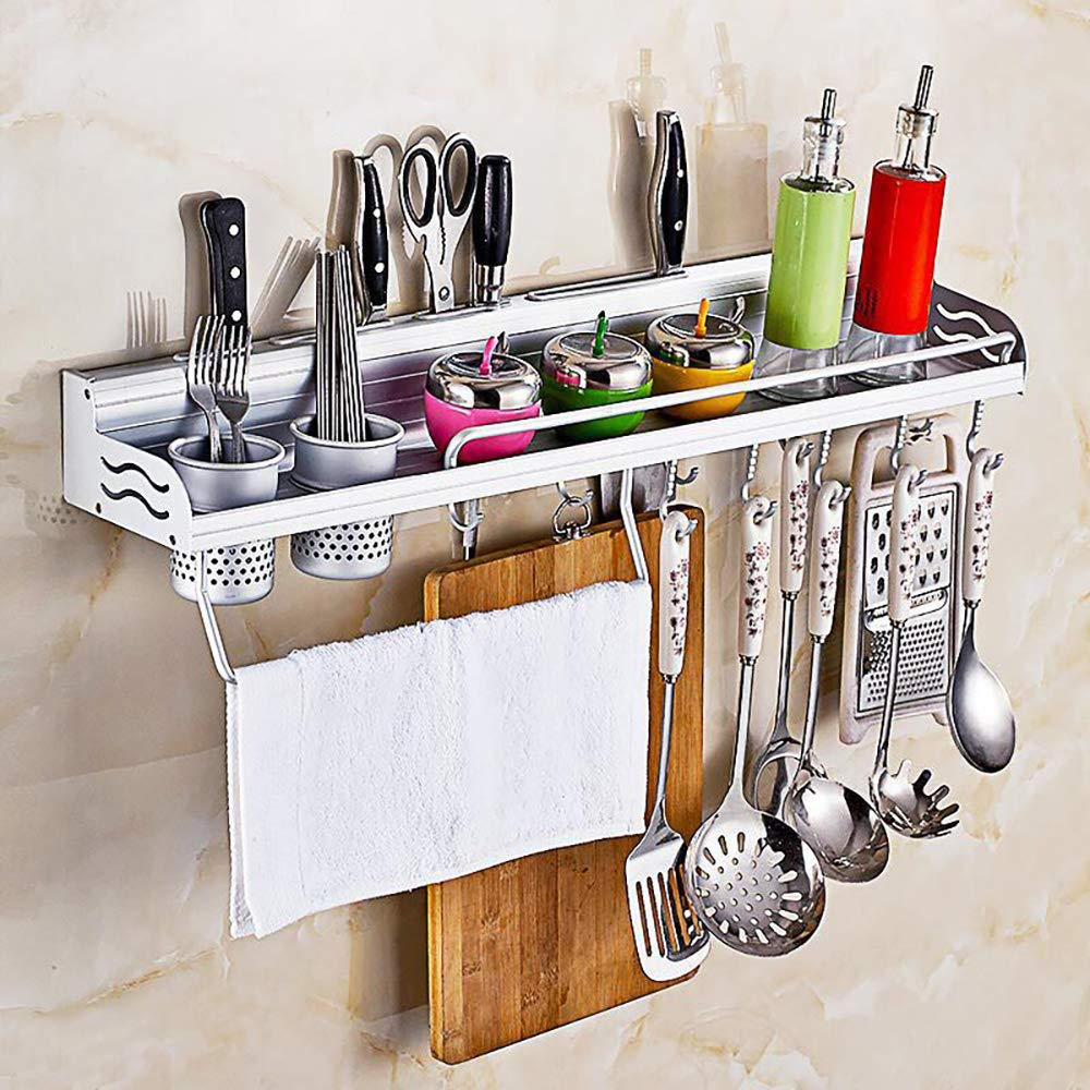 Kitchen Organizers Pot Pan Rack Multifunctional 6-in-1 Kitchen Bookshelf Storage Rack with Bottle Rack Silverware Caddy Cutlery Blocks Hanger Hooks Pot Wall Mounted Aluminum (23inch 2Cups 10Hooks)