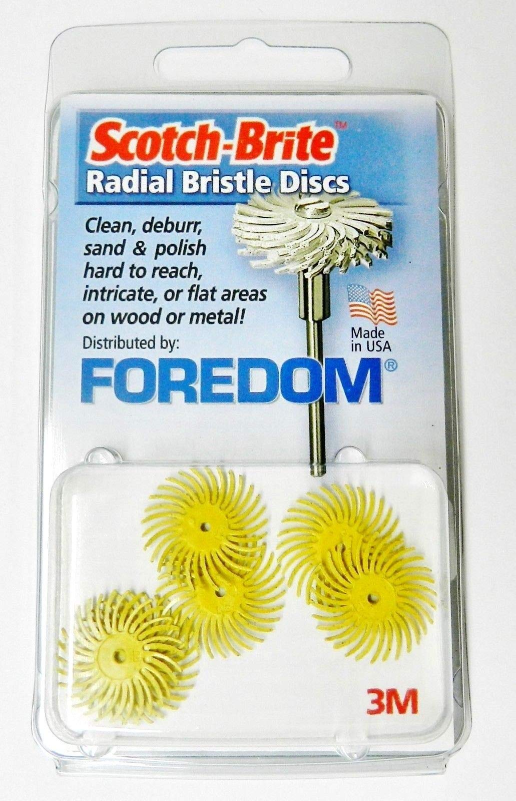 Foredom Radial Bristle Discs 80 Grit Yellow 3/4'' - Pack of 6 3M Radial Brushes by Foredom