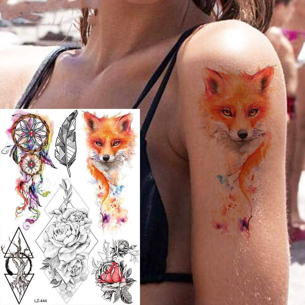 adgkitb 3 Piezas Tatuaje Temporal de Lobo Azul Negro Brazo ...