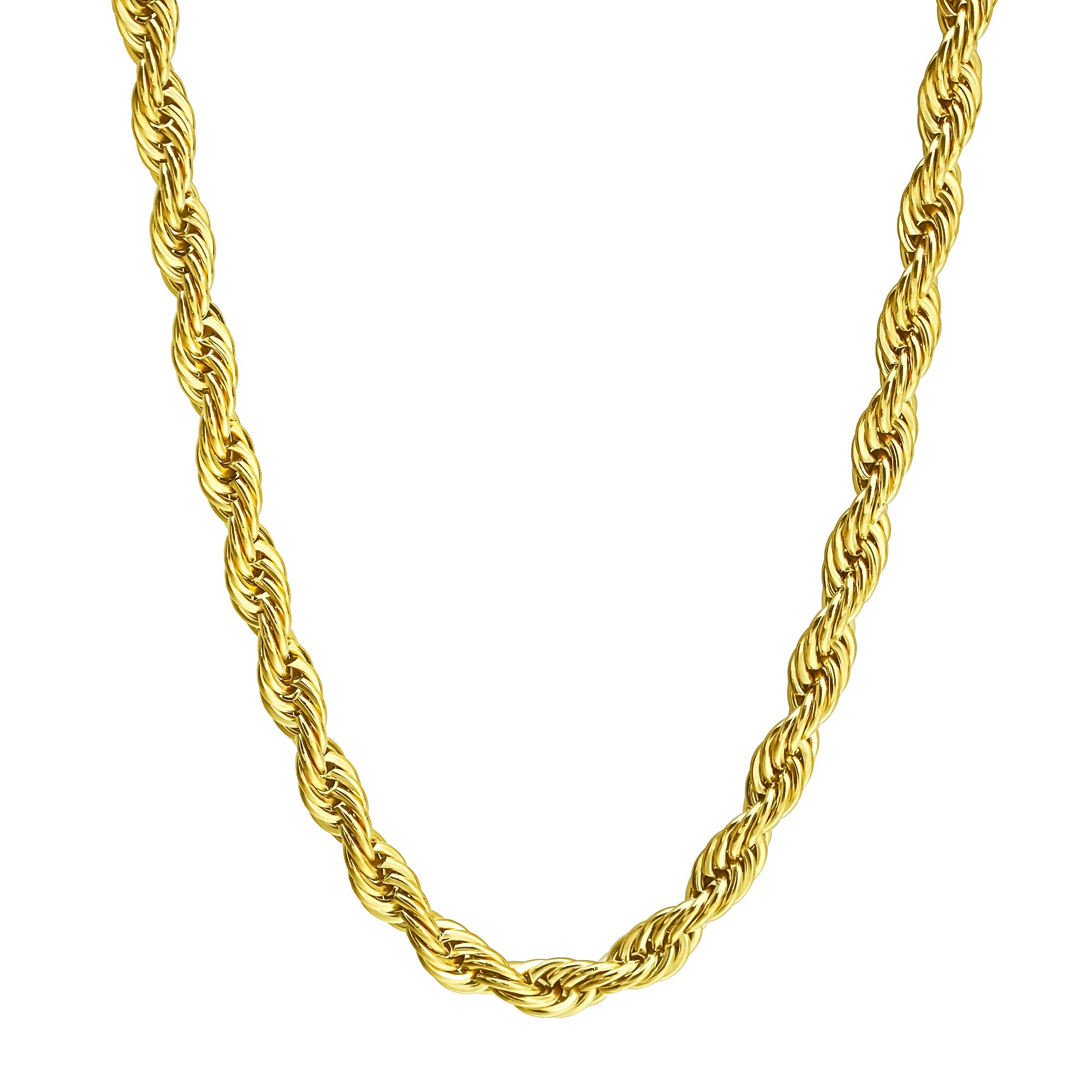 FIBO STEEL 8MM Stainless Steel Mens Womens Necklace Twist Rope Chain, 24 inches