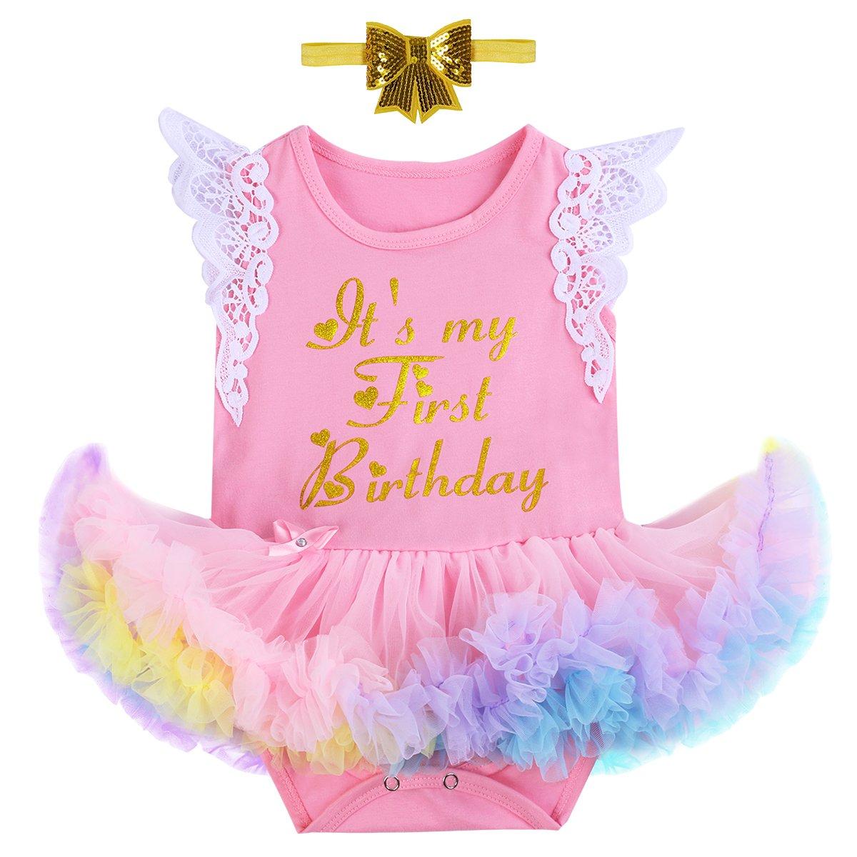 abdae23a05a2 Amazon.com  Baby Kids Newborn It s My 1st Birthday Cake Smash Outfits  Romper+Shoes+Headband for Girl Tutu Princess Dress Set  Clothing