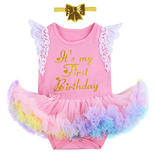 90e2af447780 Little Girl Newborn It's My 1st Birthday Cake Smash Outfits  Romper+Shoes+Headband Tutu