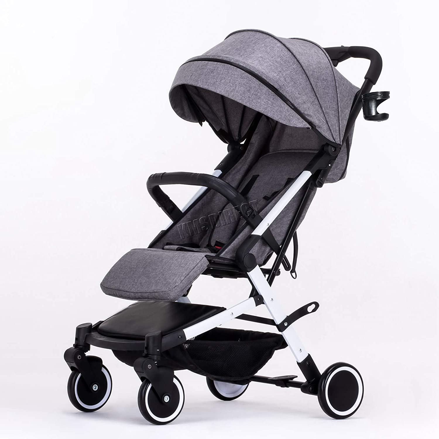 FoxHunter Foldable Baby Stroller Pushchair Pram Child Toddler Buggy Adjustable High View Travel BS03 Grey