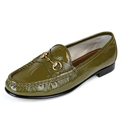 19724287c Gucci Women's Olive Green 1953 Patent Leather Horsebit Loafer 338348 2402  (37 G / 7
