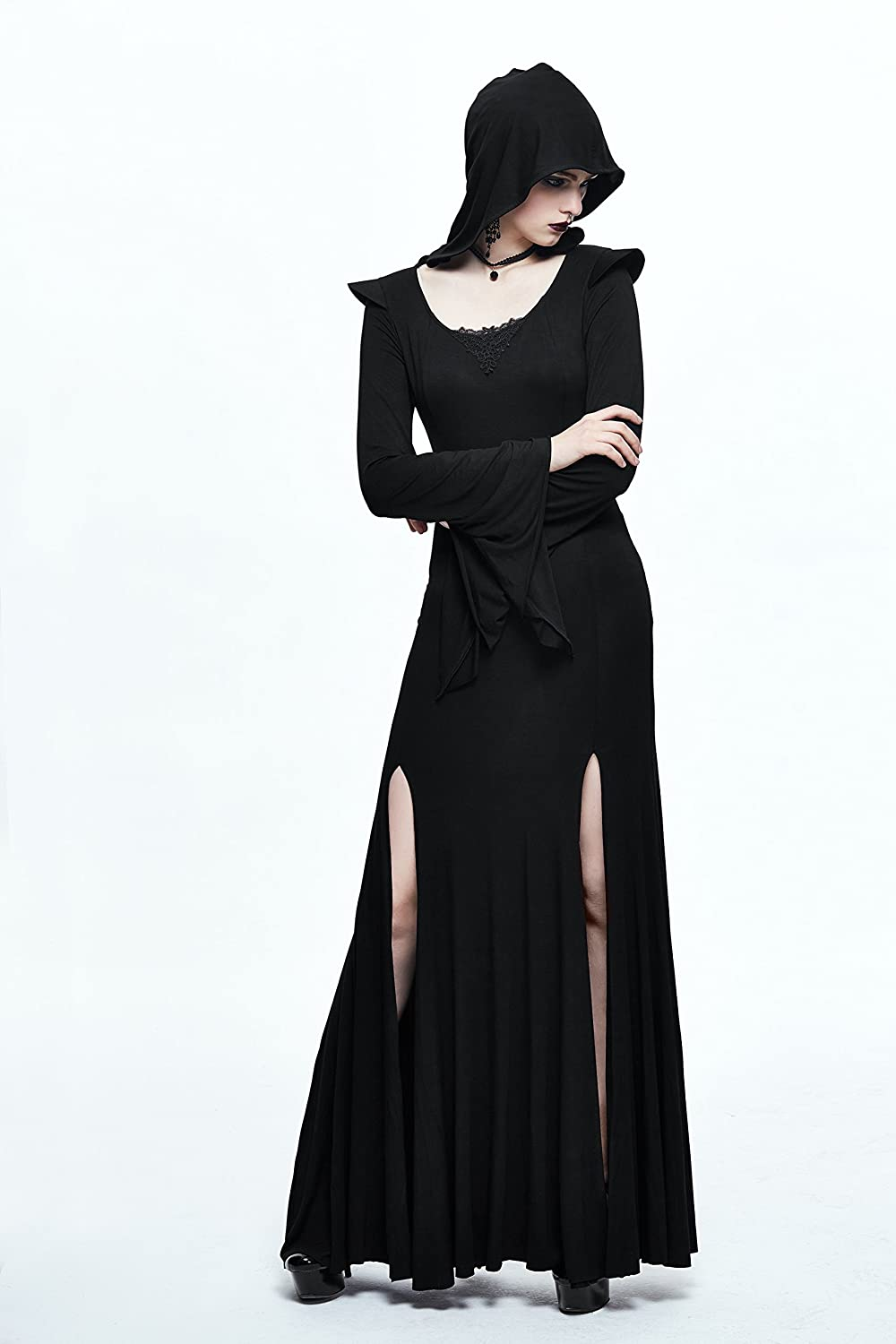 2ccf9d49a30 Punk Witch Maxi Evening Dress Black Long Sleeve Hoodie Dress Side Split  Long Prom Dress at Amazon Women s Clothing store