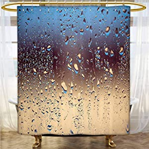 Rain Shower Curtain Close Up Rain Drops on Glass Natural Sprays Sphere Contrasting Colors Picture Waterproof&Colorful&Funny Blue Tan Brown 72x84 INCH