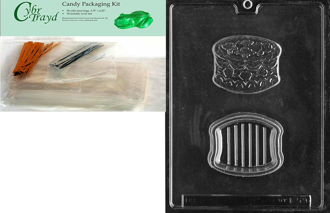 Includes 50 Cello Bags Cybrtrayd Mdk50-K059 Birthday Cake Pour Box Kids Chocolate Candy Mold with Packaging Bundle 25 Gold and 25 Silver Twist Ties and Chocolate Molding Instructions