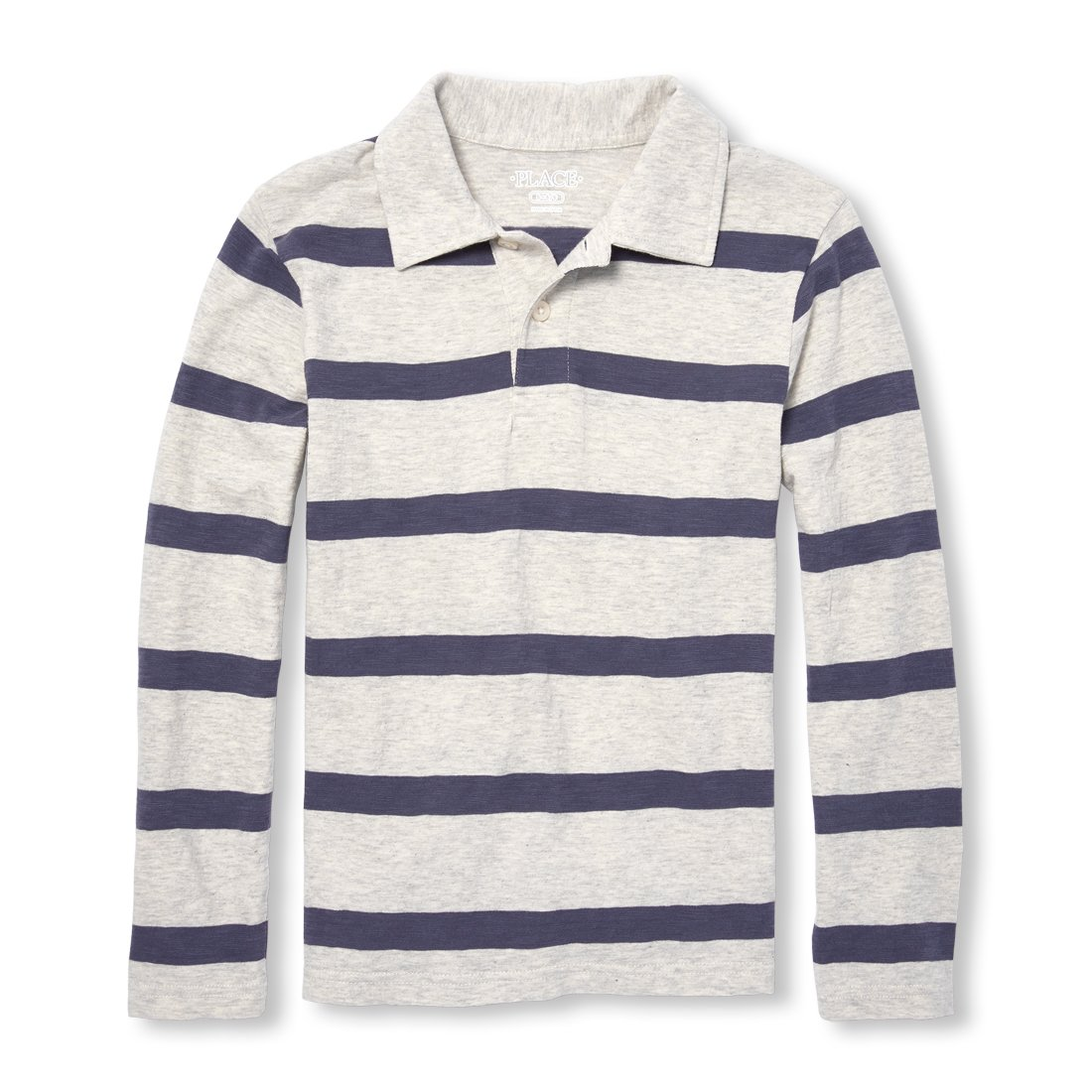 The Children's Place Boys' Big Rugby Long Sleeve Polo, Heather/T ash, M (7/8)