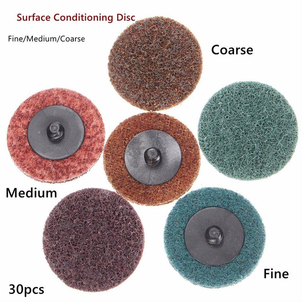 3 inch Roloc Quick Change Sanding Disc Roll Lock Sanding Disc Fine Medium Coarse 30 Pack