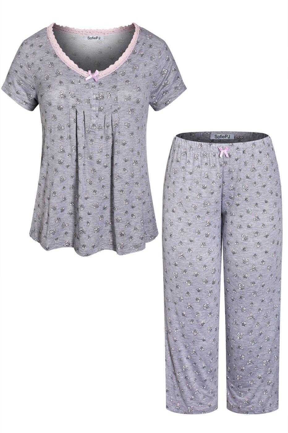 SofiePJ Women's Rayon Printed Top with Capri Pants Pajama Set Grey Pink XL(576510)