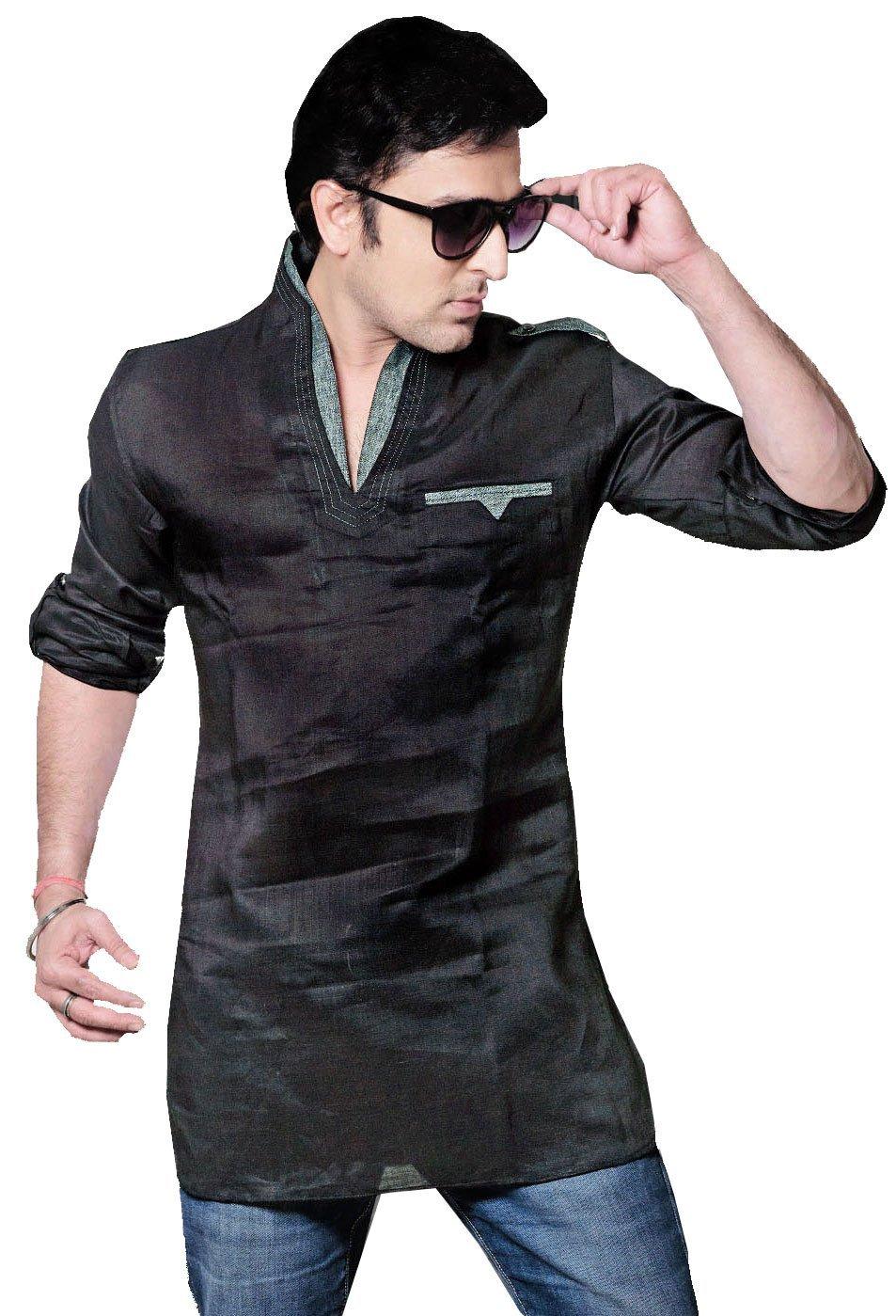 Linen Cotton Mens Short Kurta Dress Shirt Indian Fashion Clothing (Black, L)