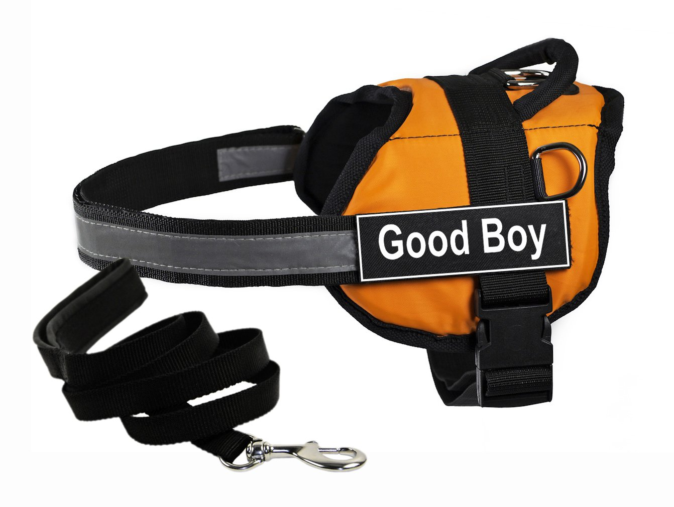 Dean & Tyler's DT Works orange Good BOY  Harness with Chest Padding, Small, and Black 6 ft Padded Puppy Leash.