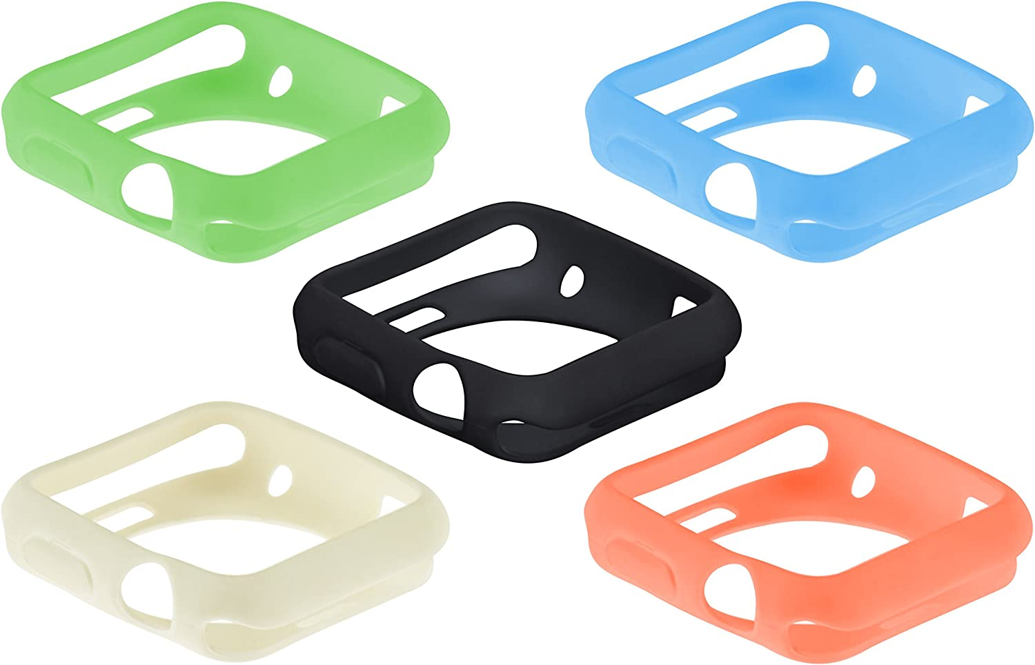 SE Assorted Color 38 mm Silicone Sport Cases for Apple Watches (5 PC.) - AW9938-5C