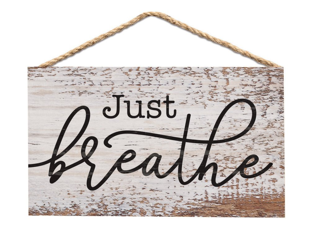 Just Breathe Whitewash 6 x 3.5 Wood Mini Wall Hanging Plaque Sign