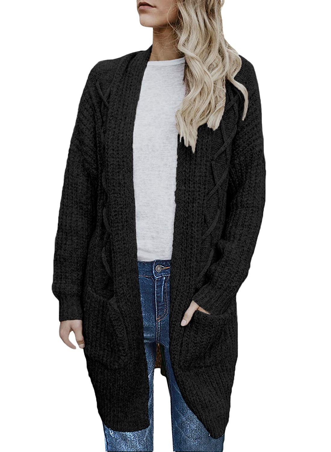 Women's Open Front Cable Knit Cardigan Sweater w Hoodie