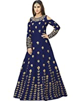 Siddeshwary Fab Women's Navy Blue Taffeta Silk Embroidered Gown for Women ( G_04 Blue | Red Priya Gown )