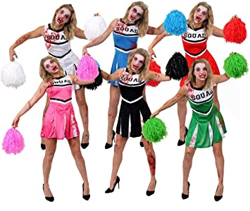 00aef88680da RED ZOMBIE CHEERLEADER COSTUME + JUMBO POM POMS + FACEPAINT + FAKE BLOOD -  PERFECT FOR