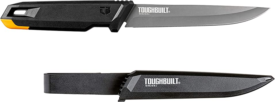 """Toughbuilt Insulation Knife – Heavy-duty Sheath with Belt Clip – 6"""" Titanium Coated Stainless Steel Blade – TB-H4S-40-IK-2"""