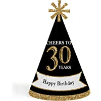 Adult 30th Birthday - Gold - Cone Birthday Party Hats for Kids and Adults - Set of 8 (Standard Size)