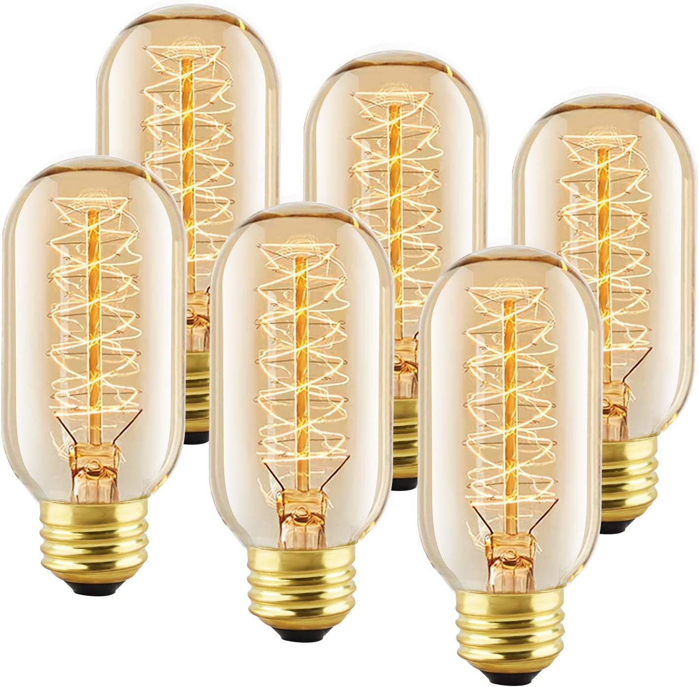 6 Pack T45 Edison Bulbs, 40 Watt Antique Vintage E26 Base Dimmable Amber Glass Incandescent Light Bulbs, Warm White 120V Lamp for Home Light Fixtures Decoration, Warll Sconce by LUXON
