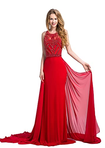 Chic Belle Women Chiffon Trail Ity Sweeping Beaded Party Gown Prom Dresses 2016