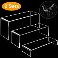ANDGOO Display Risers, 6 Pcs Rectangular Clear Acrylic Showcase Collectibles Display Stands Suitable for Retail Shoe Showcase Jewelry Funko Pop Figures