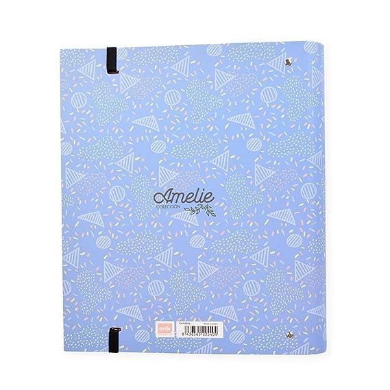 Grupo Erik Editores Amelie Classic - Carpeblock con 4 anillas, 32 x 27.5 cm, color azul: Amazon.es: Oficina y papelería