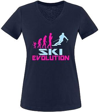 EZYshirt® Ski Evolution Damen V-Neck T-Shirt