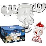 Offizielles Elchglas Moose Mug aus dem Film Schöne Bescherung inklusive Santa Pop Eyes Schlüsselanhänger Offiziell lizensiertes National Lampoon's Christmas Vacation Glas in Fotobox