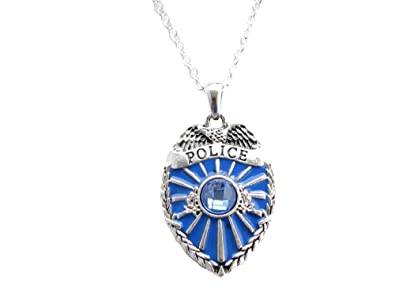 Amazon police badge policeman blue crystal enamel silver police badge policeman blue crystal enamel silver chain fashion necklace mozeypictures Choice Image