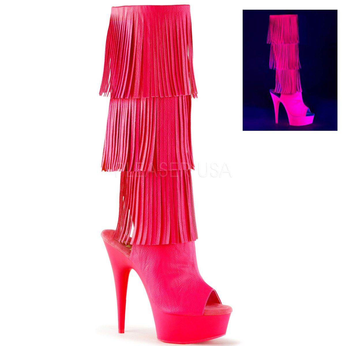 Pleaser Pink Women's Del2019-3/Bpu/M Boot B01ABTB1I4 7 B(M) US|Neon Hot Pink Pleaser Faux, Neon Hot Pink 0b4396