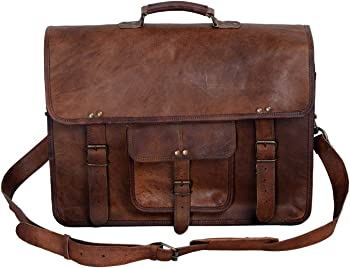 KPL 18 Inch Brown Handmade Vintage Men's Leather Messenger Bag Satchel