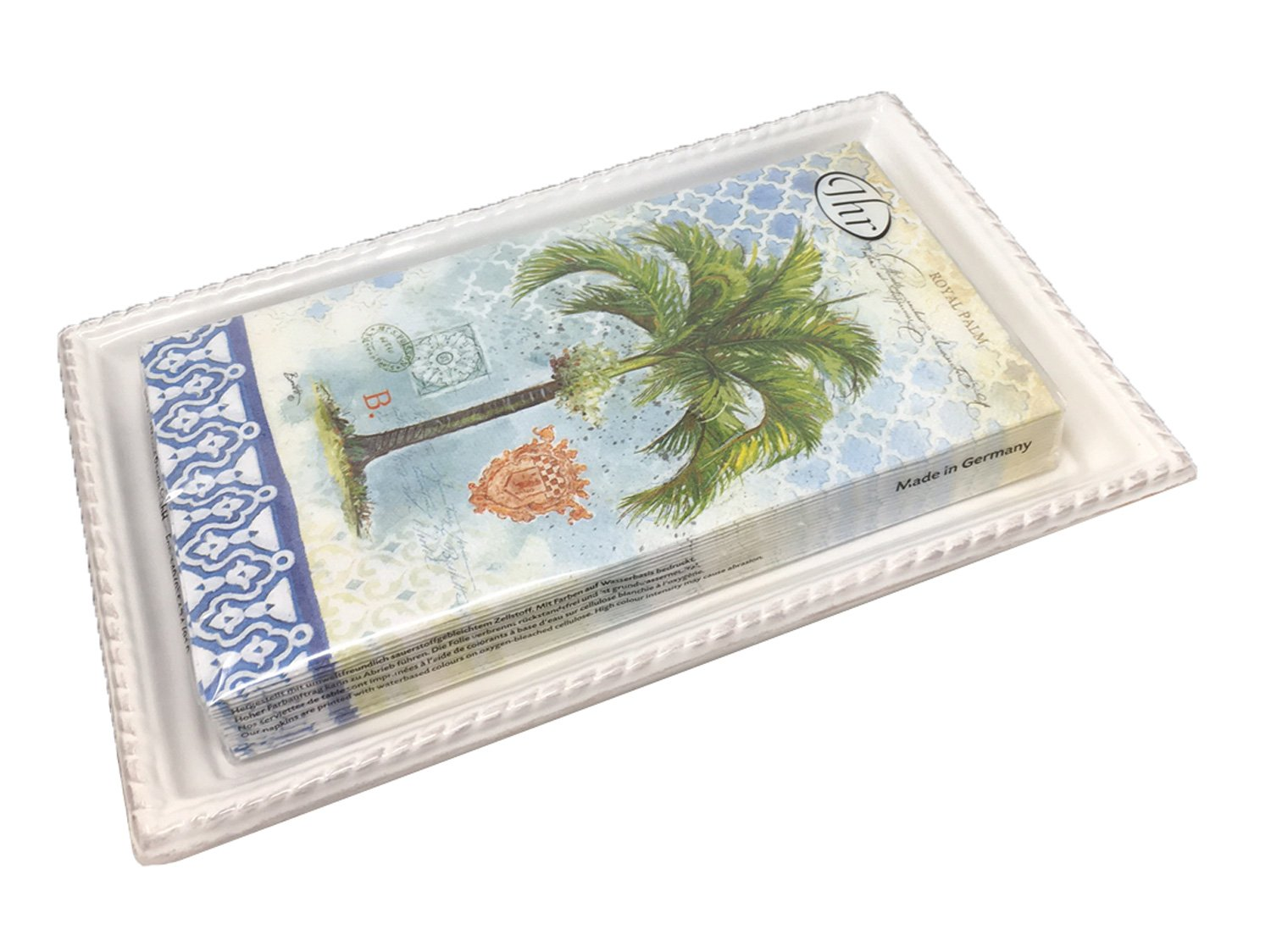 Ideal Home Range 3-Ply Paper Royal Palm, 16 Count Guest Towel Napkins with Boston International Antique White Ceramic Caddy Tray