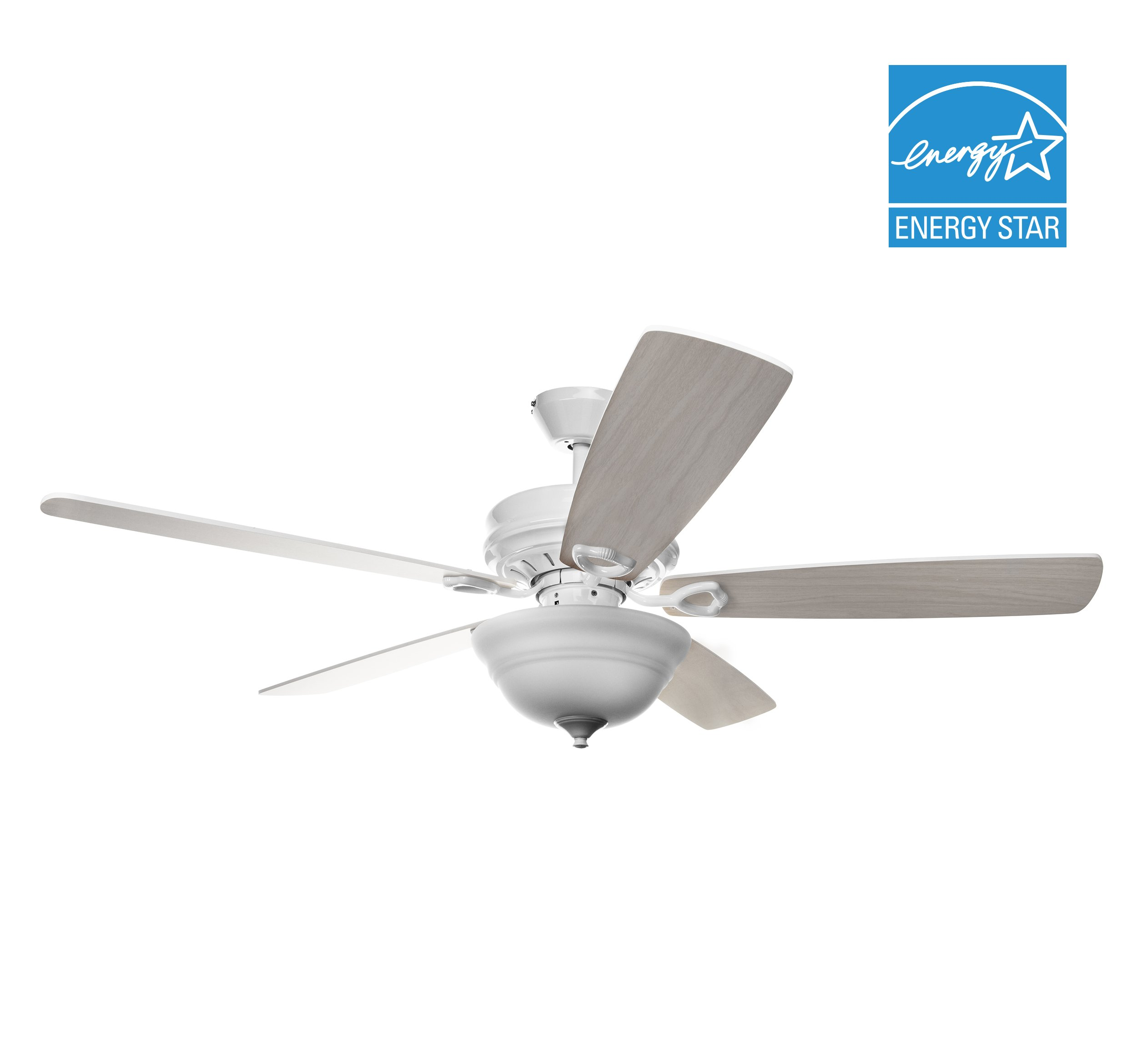 Hyperikon 52 Inch Ceiling Fan with Remote Control - Indoor Light Wood White Ceiling Fan, Energy Star - White Fixture with Five Maple Blades and Frosted Dome Light - Bulb Not Included