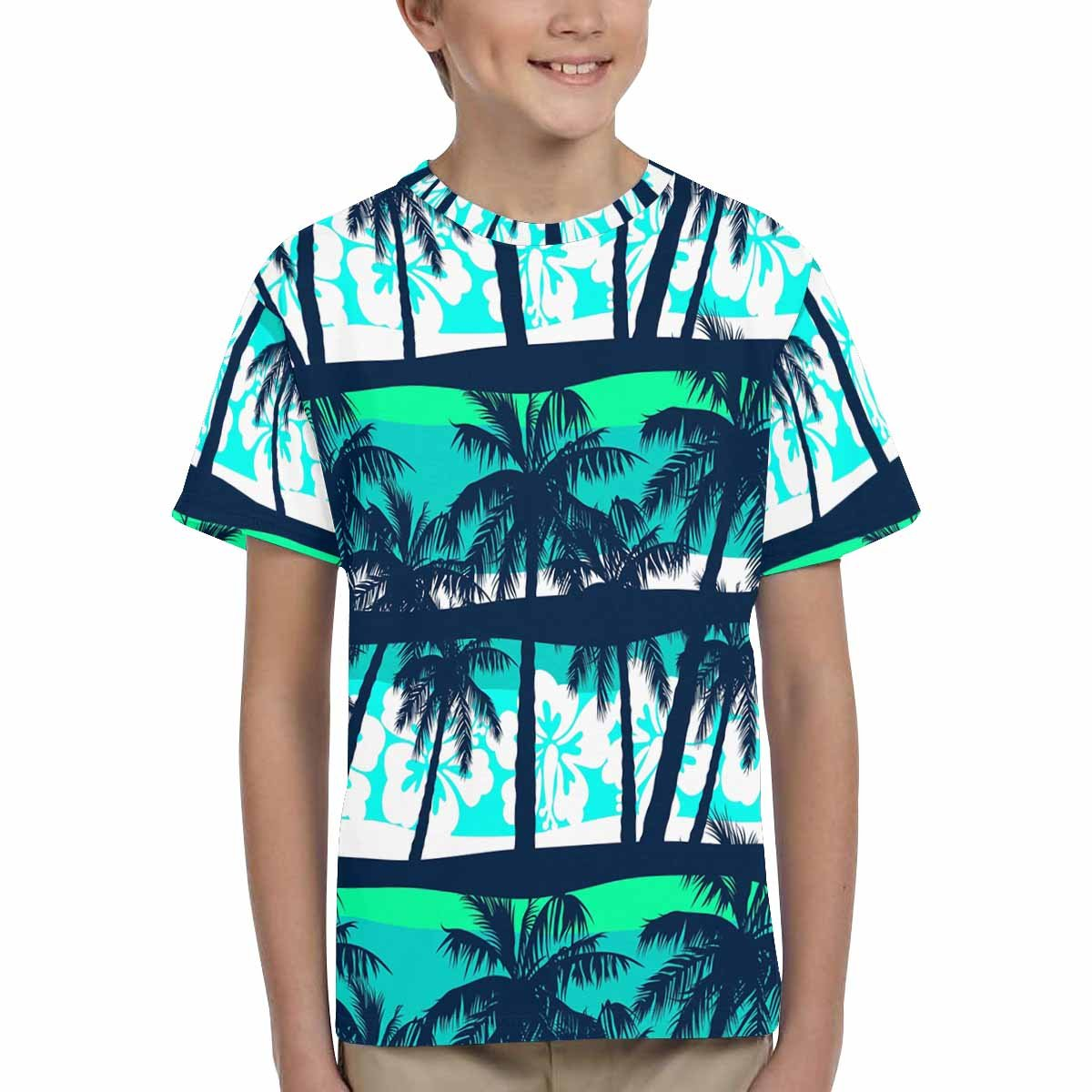 INTERESTPRINT Youth Crew Neck T-Shirt Tropical Frangipani with Palms XS-XL