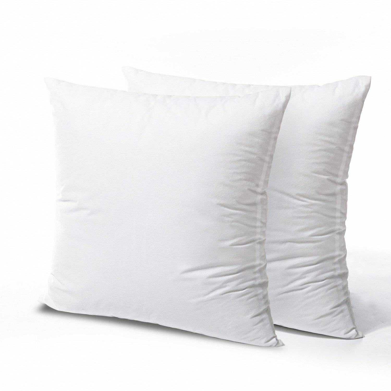 PHANTOSCOPE 2 Packs Polyester Pillow Insert Sham Square Form Sofa Bed Pillow White 18'' x 18''