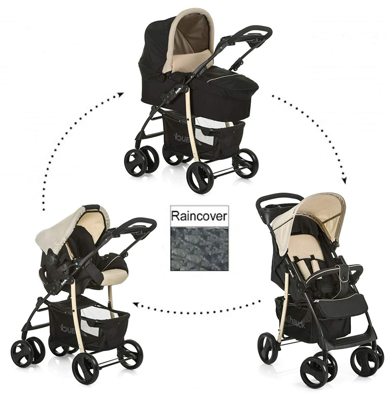 1-2 Working Days for delivery New Hauck Shopper SLX Trio 3in1 Set in Beige Caviar//Black,Including carrycot,Pushchair, car seat/&raincover