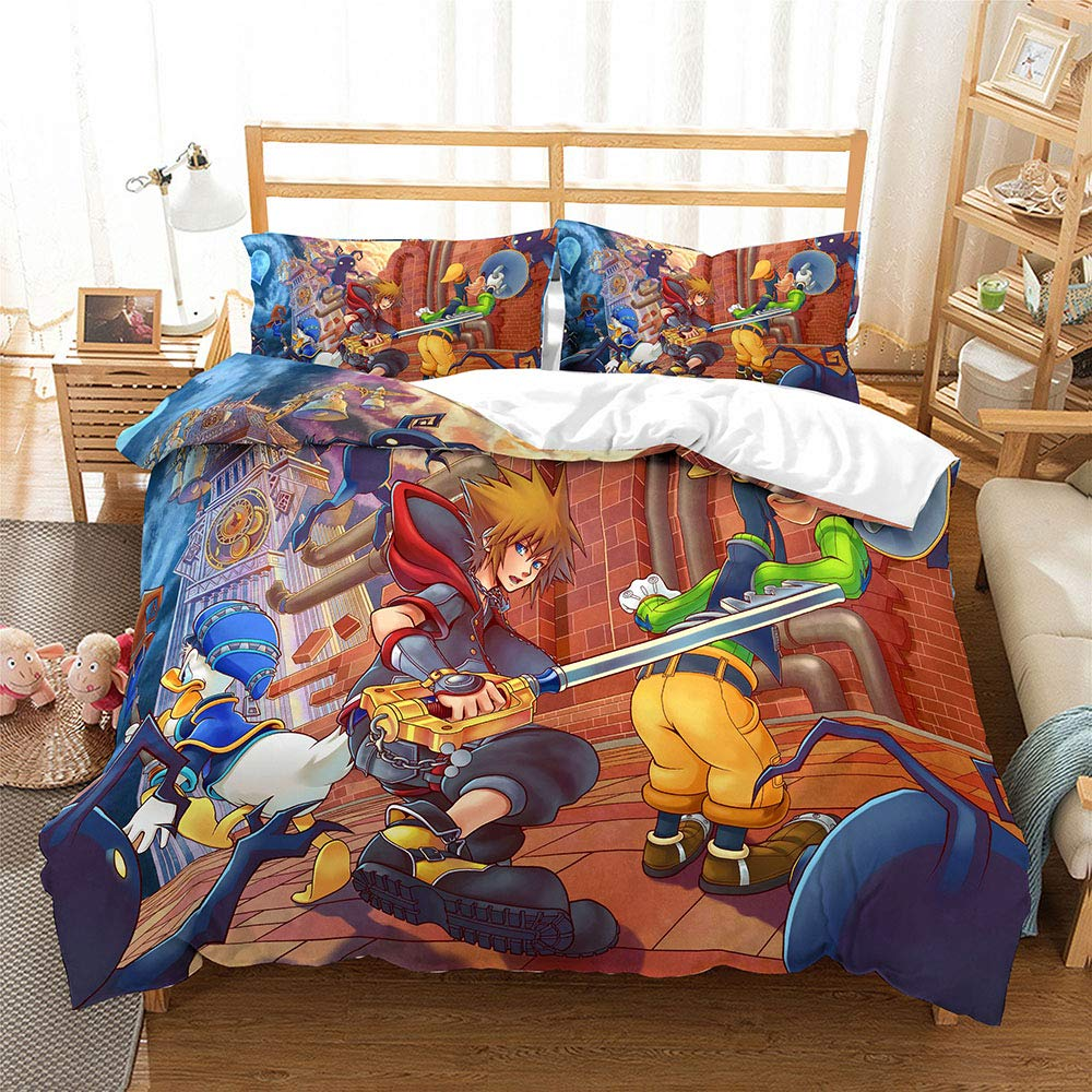 Duvet Cover Kingdom Hearts for Boys Ultra Soft Microfiber 3 Piece Kids Bedding Set Including 1Duvet Cover,2Pillowcases Style6 Twin