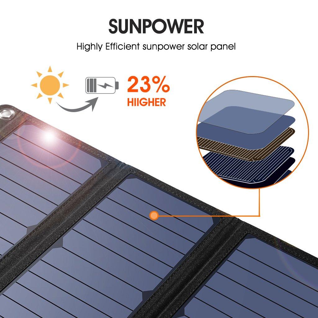 SUAOKI 28W Cargador Panel Solar Portátil Plegable con 3 Puertos de USB de QC 3.0 Carga Rápida, conversión de energía de hasta 23%, resistente al agua IPX4 ...