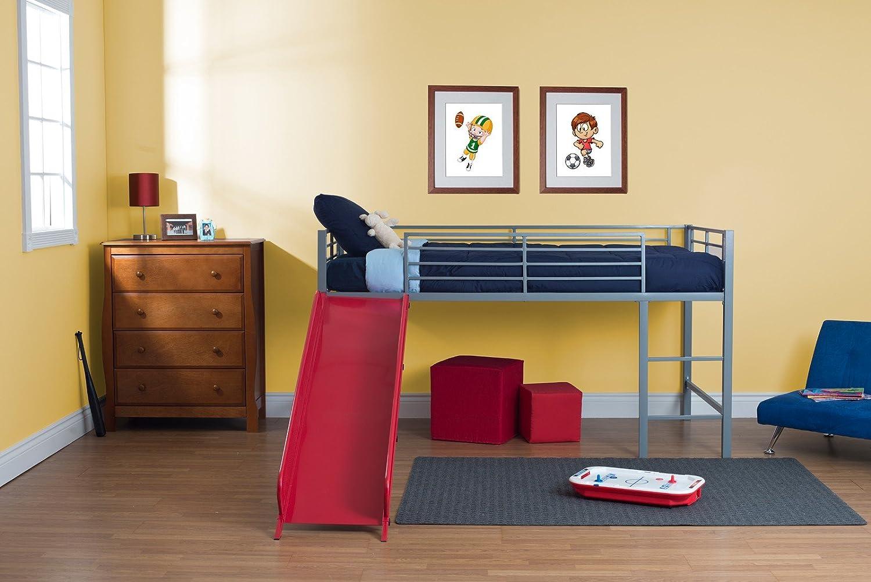 loft with slide. amazon.com: dhp junior twin metal loft bed with slide, multifunctional design, silver red slide: kitchen \u0026 dining slide