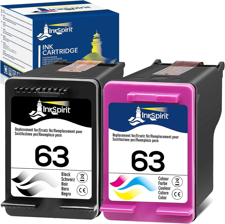 InkSpirit Remanufactured Ink Cartridges Replacement for HP 63 HP63 Black Color Combo Pack for OfficeJet 3830 5252 4650 5258 4655 4652 5255 Envy 4520 3634 DeskJet 3636 1111 3630 1112 3637 3632 Printer
