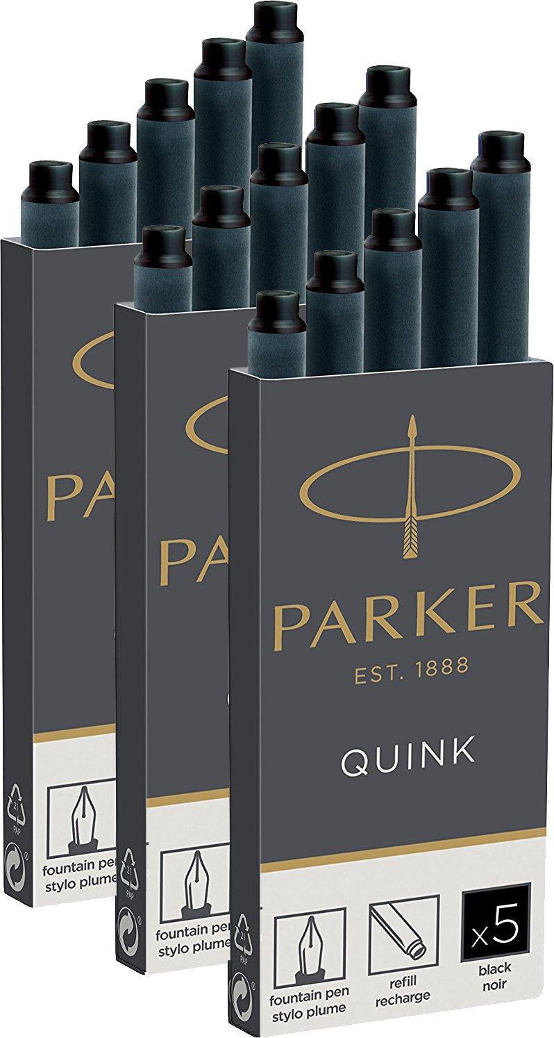 Parker 1950382/Quink Recharge pour stylo /à plume Lot de 10 Lot de 10 noir