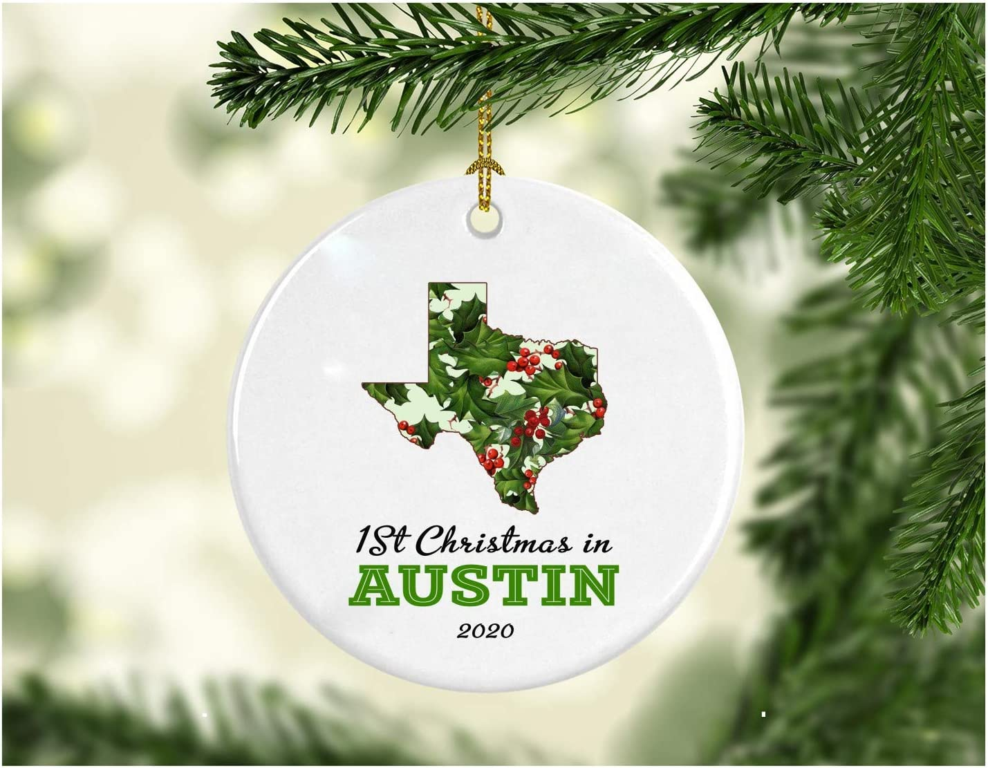 """Christmas Holiday 2020 Ornament Collectible First 1st Season Living in Austin Texas Christmas Ornaments Tree Christmas in Our New Home Xmas Present MDF Plastic 3"""" White"""
