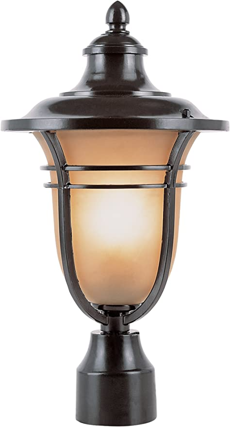 LED Globe Coach Light Traditional Outdoor Beige LED Pillar Post Mounted Lantern