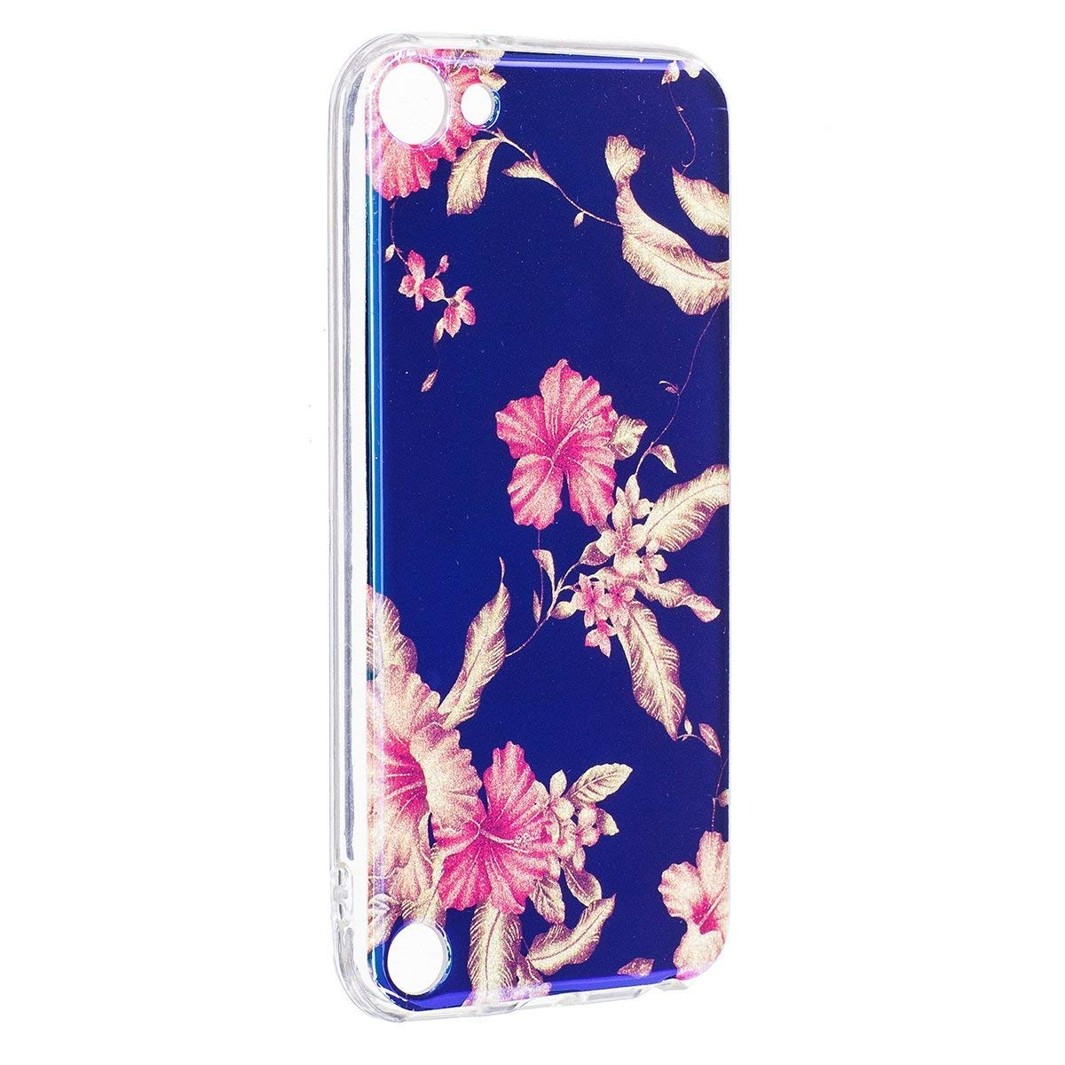 Ekakashop Colorata Painting Fiori Pattern Blu Riflettente 3D TPU Case per Apple iPod Touch 6/iPod Touch 5 con 1x Kickstand (Colore Casuale), Piccola Rosa kaka048201