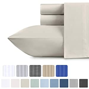 500-Thread-Count Sateen California King Sheets - 100% Cotton 4 Piece Bed Set, Light Taupe Fade Resistant Bedding, Soft Comfortable Bed Sheets, Deep Pocket Fits Mattress Upto 18 Inches