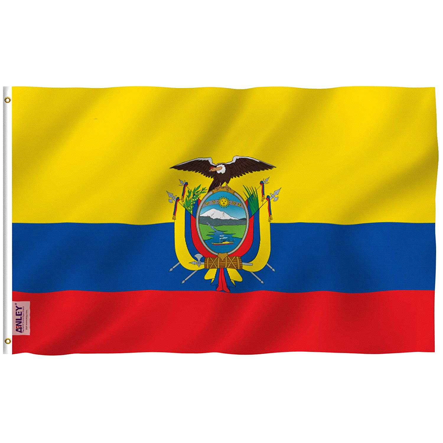 ANLEY Fly Breeze Canvas Header and Double Stitched 3x5 Foot Ecuador Flag Vivid Color and UV Fade Resistant Ecuadoran National Flags Polyester with Brass Grommets 3 X 5 Ft